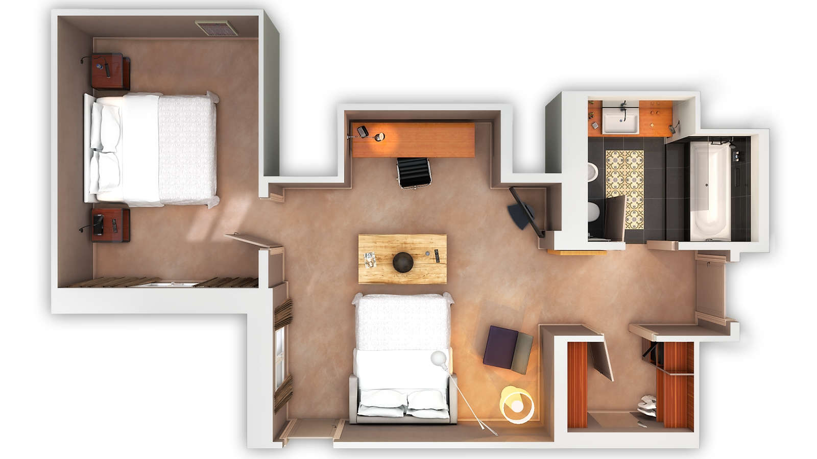 3D Floor plan family suite with bed at Le Méridien Barcelona