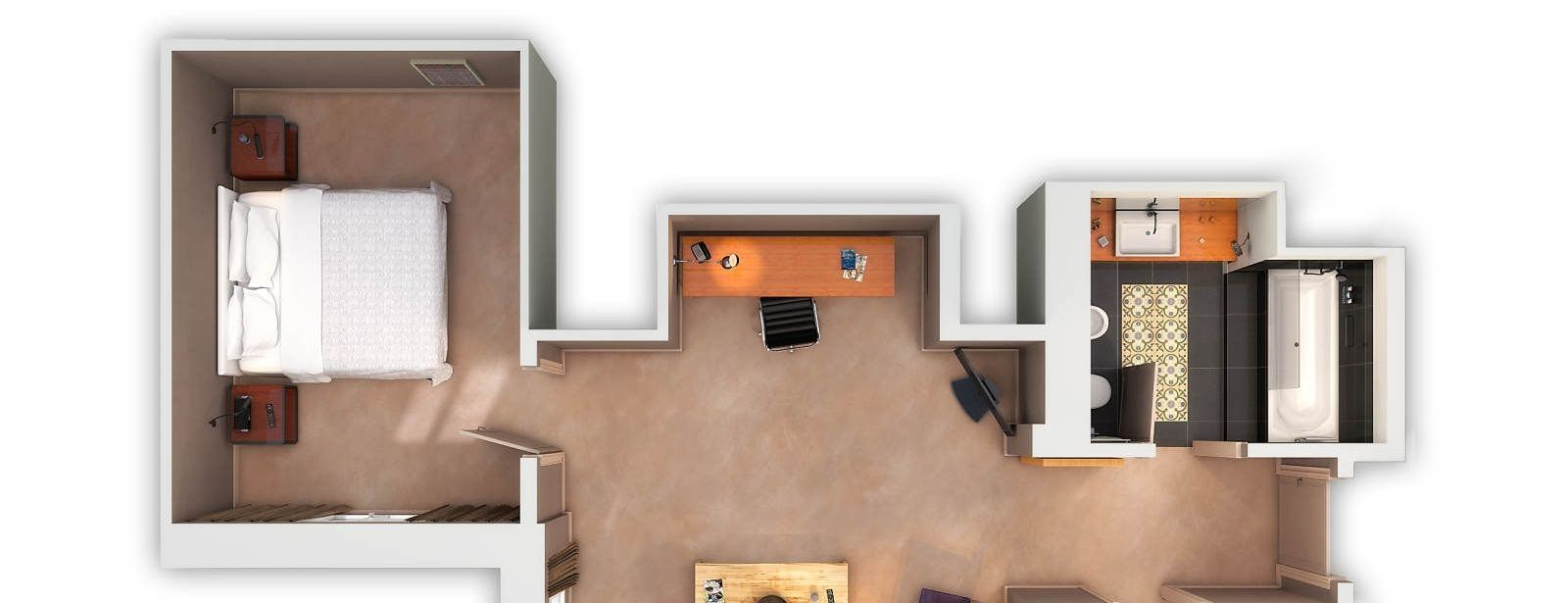Family Suite floorplan with sofabed